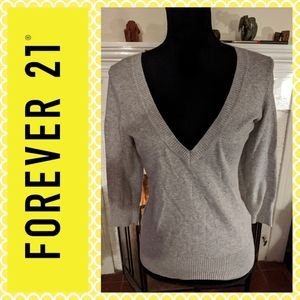Forever 21 gray v-neck sweater